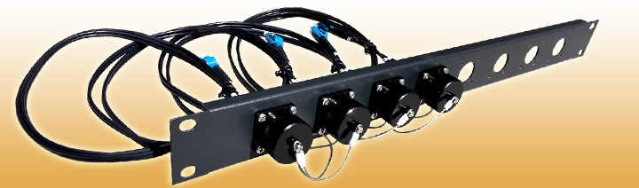 4 Port BullsEye™ Patch Panel with 4 BullsEye™ Duo Chassis Connectors & Patch Cables with LC Breakouts
