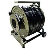 500 Foot TFS DuraTAC™ Kevlar Armored Tactical Fiber Cable terminated with TFS Stainless Steel Magnum™ Connectors - 16 Fibers - Single Mode - with Military Reel