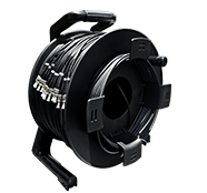 250 Foot TFS DuraTAC™ Stainless Steel Armored Tactical Fiber Cable terminated with 12 ST Connectors - Single Mode - with Reel