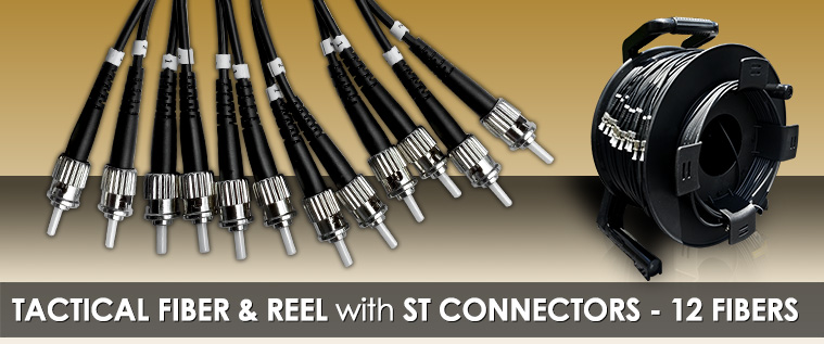 250 Foot TFS DuraTAC® Stainless Steel Armored Tactical Fiber Cable terminated with 12 ST Connectors - Single Mode - with Reel