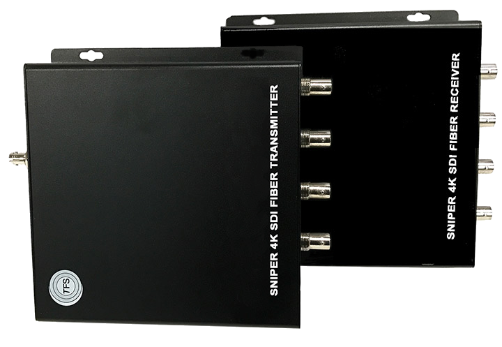 "TFS 4K Video ""Sniper"" System Four 3G-SDI or one 4K video signal over a single fiber cable. Transmitter / Receiver Pair"