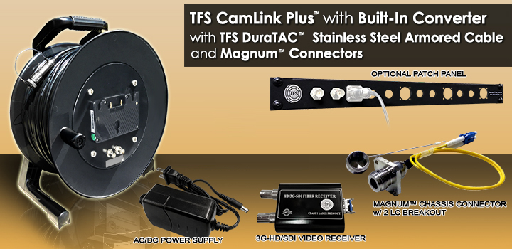 1000 Foot TFS  CamLink Plus™ All-in-1 Fiber Transmission System with Built-in 3G-HD/SD-SDI Transmitter, 3G-HD/SD-SDI Receiver, AC/DC Power Supply and Anton Bauer Battery Mount (Battery not included). With TFS 2 Fiber DuraTAC™ Stainless Steel Armored Cable