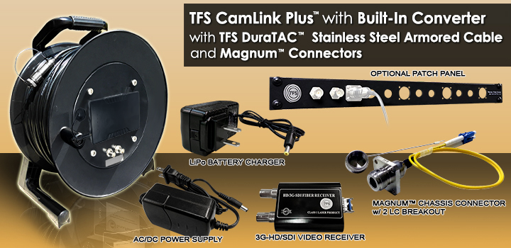 1500 Foot TFS CamLink Plus™ All-in-1 Fiber Transmission System with Built-in 3G-HD/SD-SDI Transmitter, 3G-HD/SD-SDI Receiver, AC/DC Power Supply and Lithium-Ion Battery. With TFS 2 Fiber DuraTAC™ Stainless Steel Armored Cable